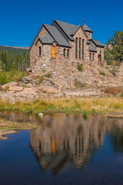 Chapel on the Rock with water reflection