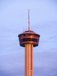 Tower of the Americas, San Antonio, at sunset.
