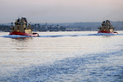 Tugs leaving San Diego Bay in the early morning