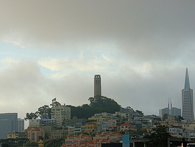 Coit Tower as the fog burns off  San Francisco, CA  September 19, 2009