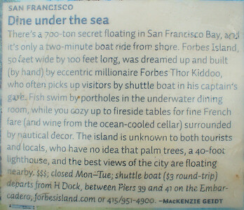 Description of Forbes Island  San Francisco, CA  September 19, 2009