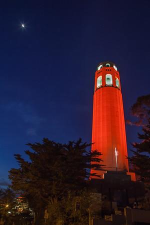 Coit Tower in Giants Orange