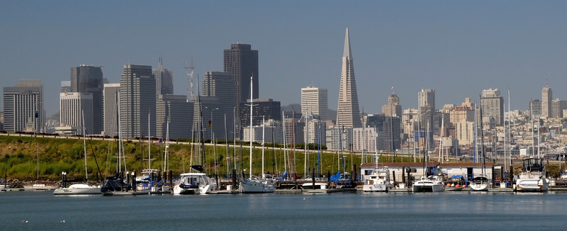 San Francisco Skyline across Treasure Island Marina