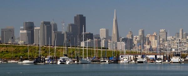San Francisco Skyline across Treasure Island Marina