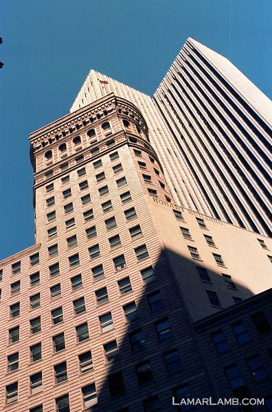 Hobart Building, San Francisco California.  Camera - Nikon FM; Lens - Nikkor 24mm f/2.8 AIs; Film - Kodak Ektar 100 developed in Rollei Digibase C41 Chemicals.  Scanned with Nikon CoolScan V ED.