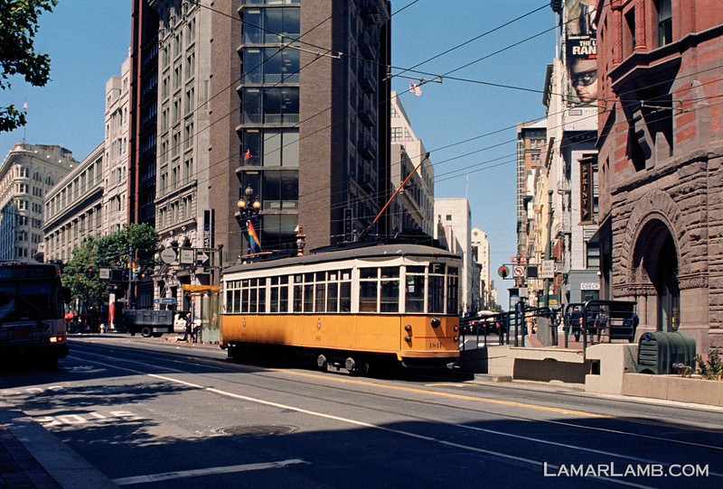 Trolley on Market Street, San Francisco California.  Camera - Nikon FM; Lens - Nikkor 24mm f/2.8 AIs; Film - Kodak Ektar 100 developed in Rollei Digibase C41 Chemicals.  Scanned with Nikon CoolScan V ED.