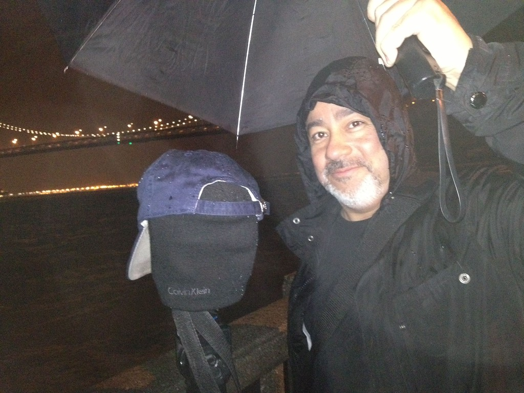 This is me standing in the rain waiting for the Bay Bridge Light show. By the end of the night I was soaked.