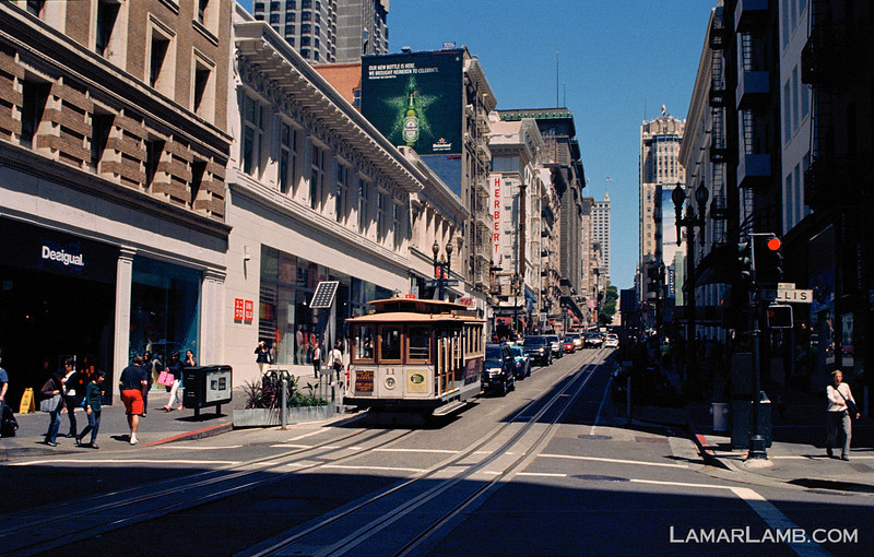 Cable car on Powell Street in San Francisco, California. Camera - Nikon FM; Lens - Nikkor 24mm f/2.8 AIs; Film - Kodak Ektar 100 developed in Rollei Digibase C41 Chemicals.  Scanned with Nikon CoolScan V ED.