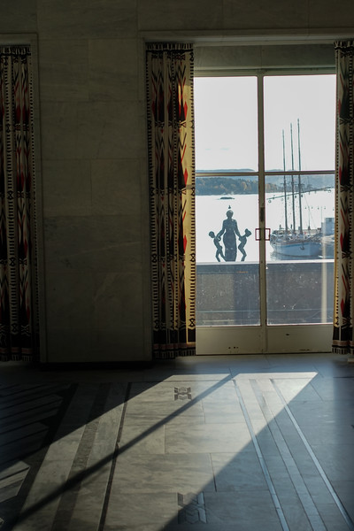 Looking out from the Oslo City Hall