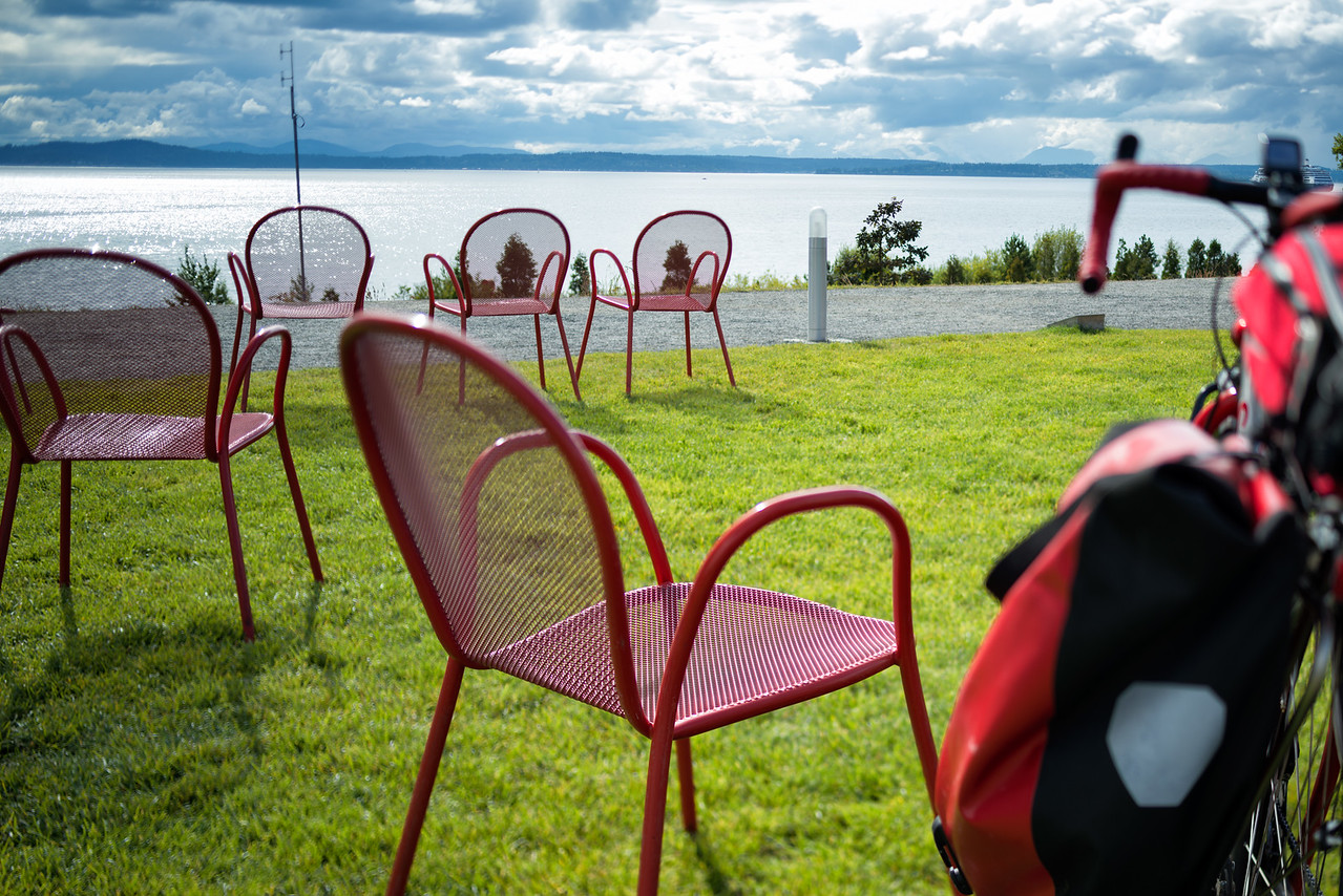 20160807.  Scarlet Seven and view of Puget Sound from Olympic Sculpture Park, Seattle WA.