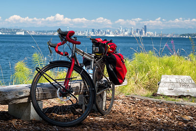 20160812.  Bike trip to Bainbride Island, WA.  Scarlet Seven on Bainbridge Island with Seattle in background.