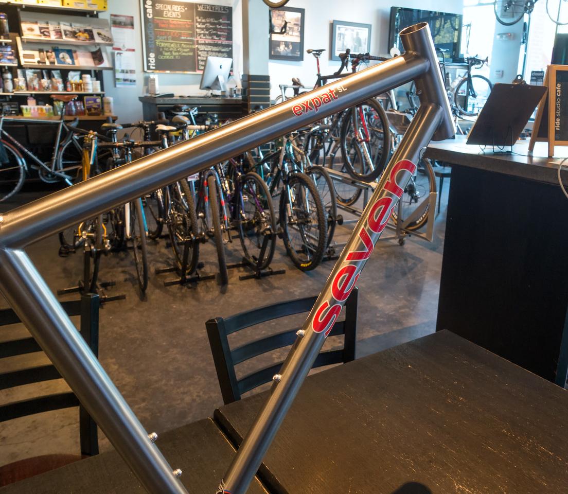 20150917.   Scarlet Seven frame at Ride Studio Cafe, Lexington MA.