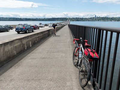 20160723.  Scarlet Seven proceeding westward across Homer M. Hadley Memorial Bridge (I90 expressway).  This bridge crosses Lake Washington and is the world's 5th longest floating bridge.