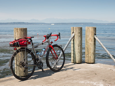 20160820.  Scarlet Seven with Puget Sound and Olympic Mountains in background.   View from Alki, Seattle WA.