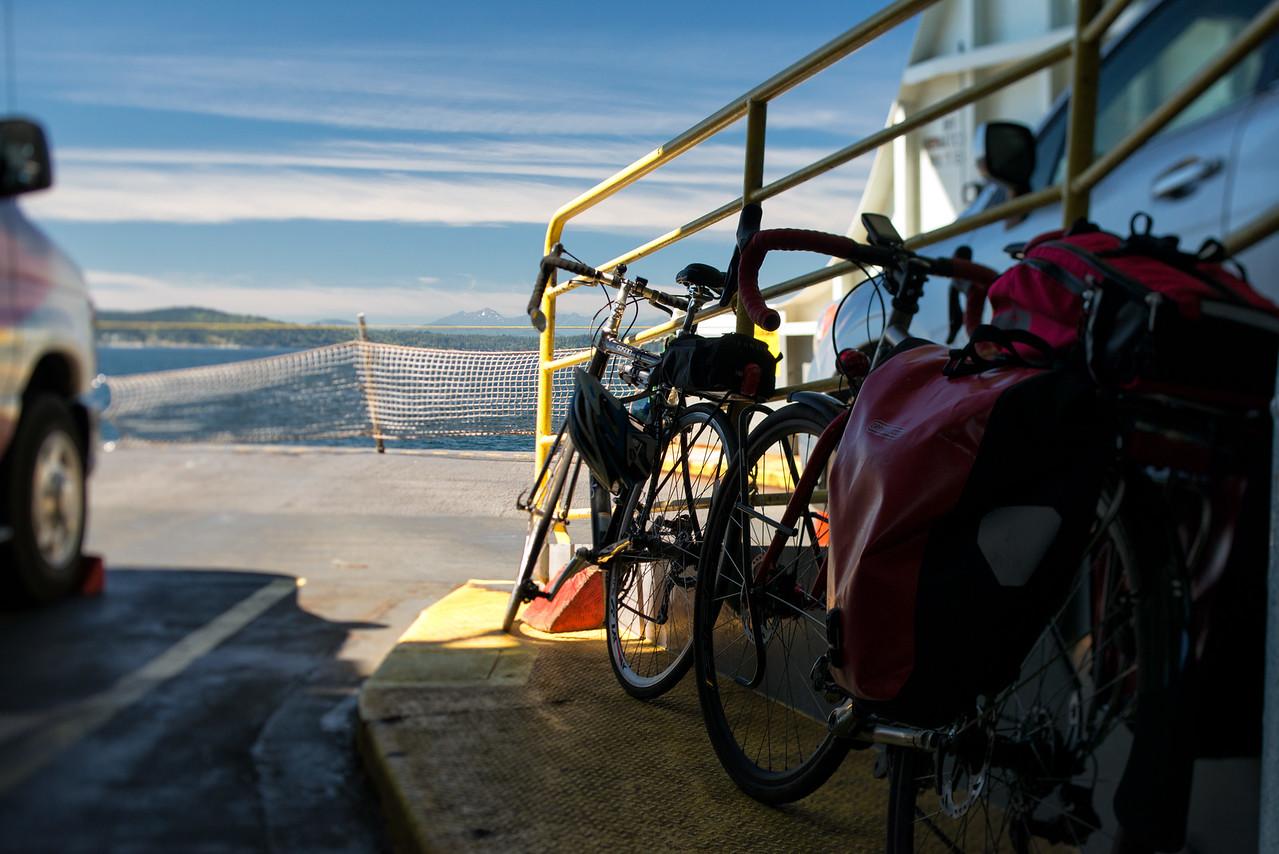 20160812.  Bike trip to Bainbride Island, WA.  Scarlet Seven aboard ferry on way to Bainbridge Island.