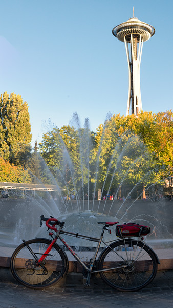 20160817.  Scarlet Seven at International Fountain with Space Needle in background at Seattle Center, Seattle WA.