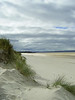 Looking West to Nairn harbour along sand dunes on the edge of Nairn beach.