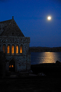 Iona Abbey and full moon over Iona Sound, Scotland