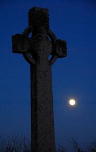 Celtic Cross and full moon - Iona, Scotland
