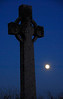 Celtic Cross and full moon - Iona, Scotland