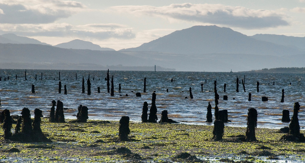 Disused pilings on Clyde, near Langbank, Scotland