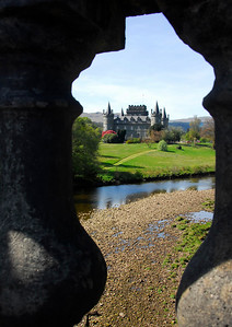 Inverary Castle through ballastered railing - Inverary, Scotland