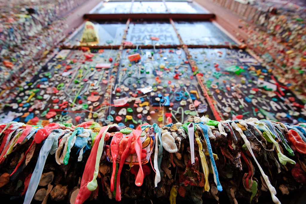 Gum wall<br /> <br /> One windows at the famous wall at the alley around pike place market ...