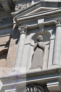 Religious statue in front of St. James Cathedral, Seattle, Washington