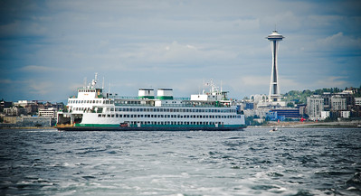 Ferry coming in to Seattle Washington