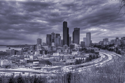 Tinted Seattle skyline HDR, March 2011.