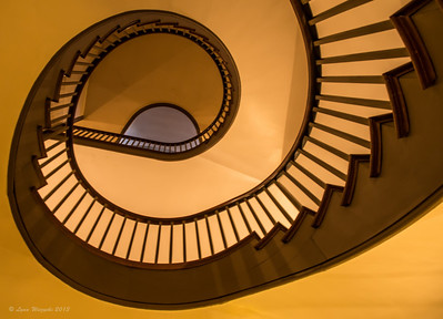 Staircase in Trustee's building, Shaker Village, looking up