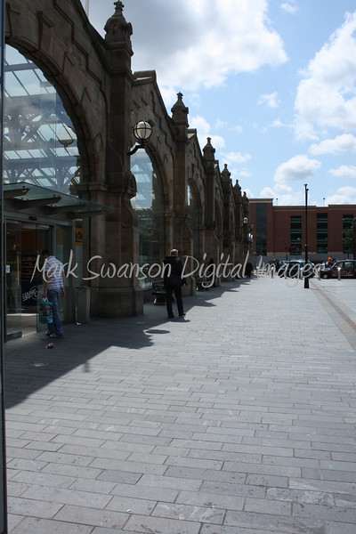 Sheffield Railway station facade with the modern car park in the distance. Another example of how old and new sit together well.