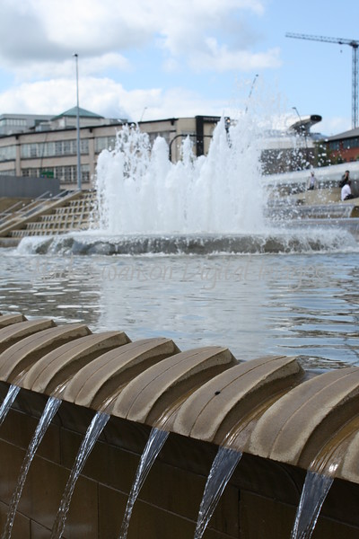 Water cascades and fountain outside the Railway Station