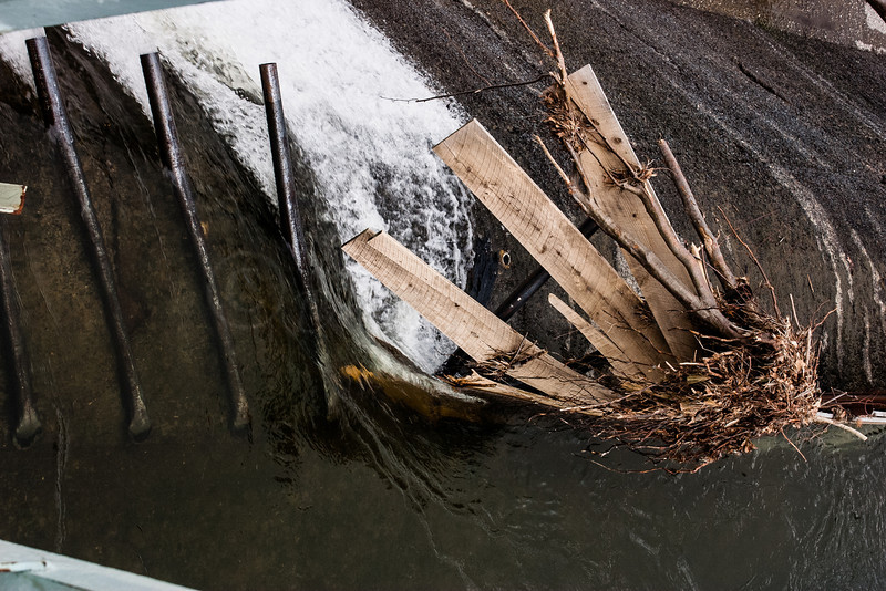 Debris caught at the dam edge.