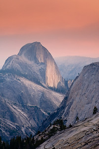Back Half  Yosemite's Half Dome from Olmstead Point looking down Tenaya Canyon.  Controlled burns in Yosemite created smokey skies.