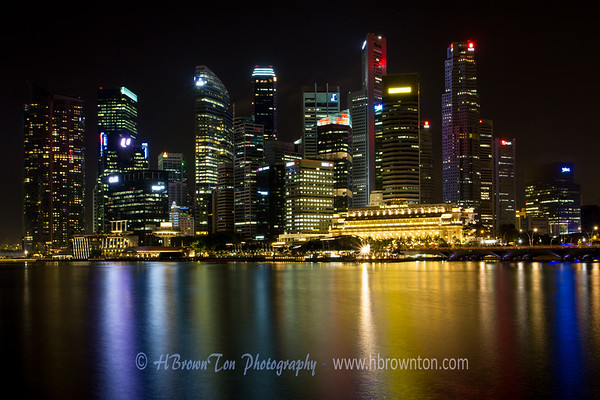 This is one of my favorite shots -- Singapore night skyline reflecting off of the Marina Bay Reservoir