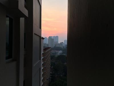 Spectacular sunset despite the haze