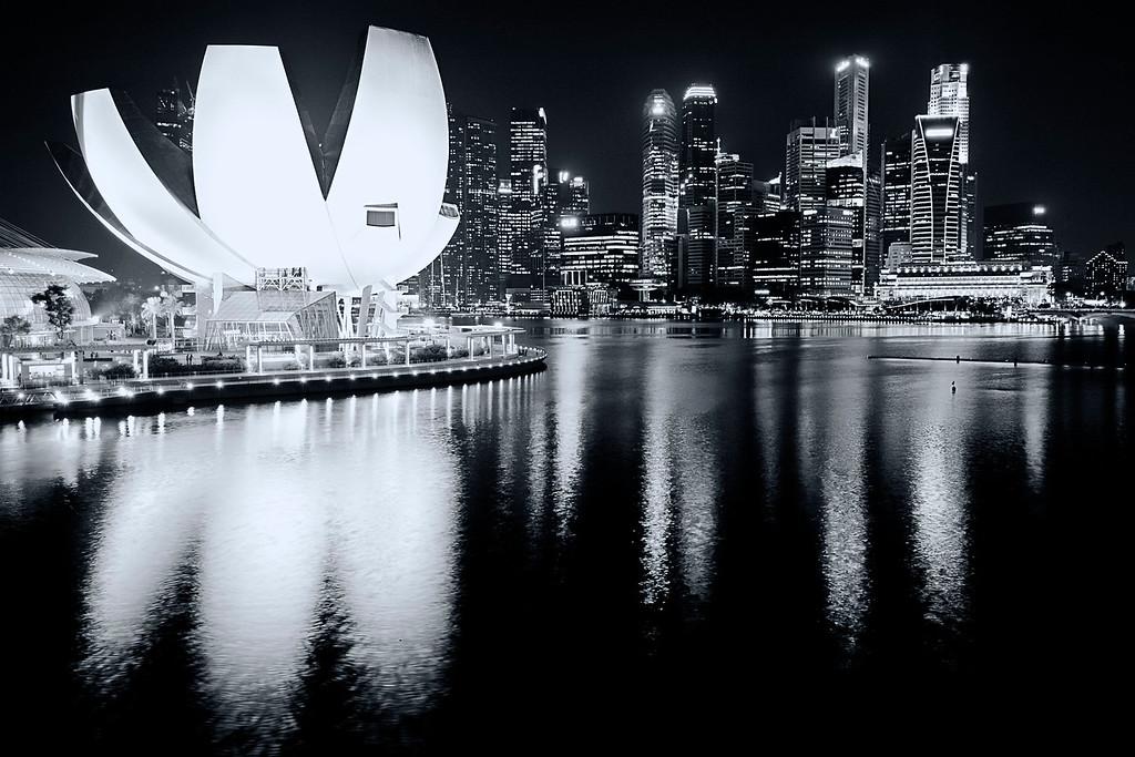 Singapore Skyline<br /> <br /> Nikkor 16-35 @ f11. B&W Processing with Nik Silver Efex