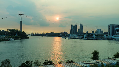 Sunset from the MRT back to Sentosa.