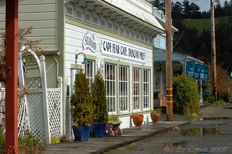 Duncan Mills CA cafe, Cape Fear.