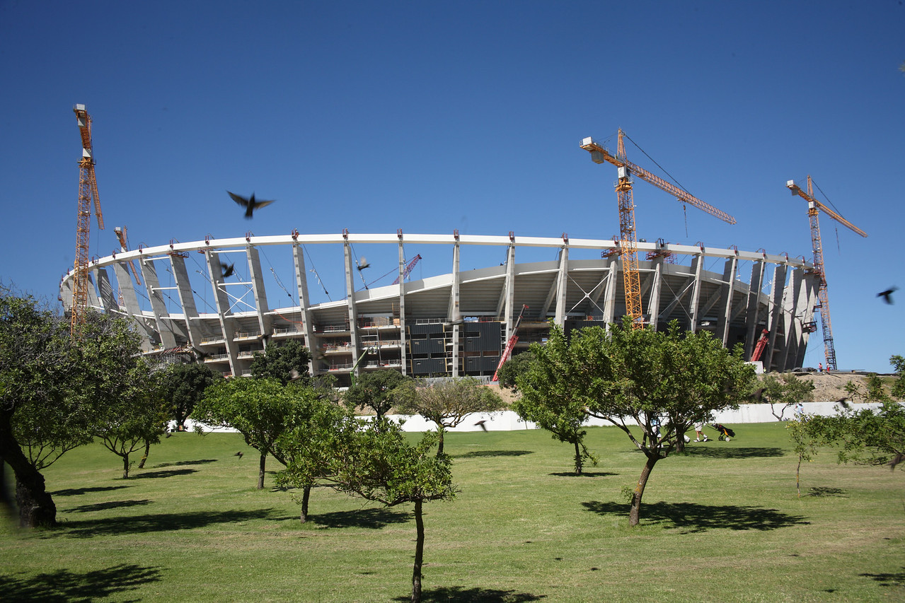 Cape Town Stadium, Green Point, South Africa, under construction