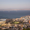 Cape Town in the early evening, showing the Green Point Stadium lit up