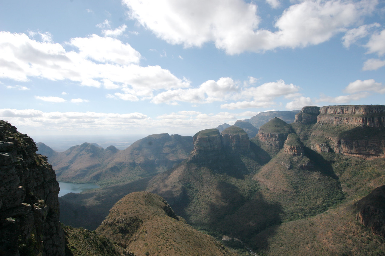 The Three Rondawels, 700 m tall dolomite domes, in the Blyde River Canyon, Mpumalanga