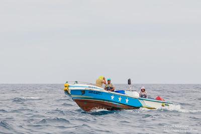 Fishing boat - Near Playa Negra, Isla Marchena, Galapagos, Ecuador