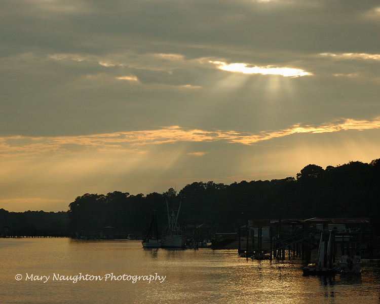 Sunset rays, May River, Bluffton, SC