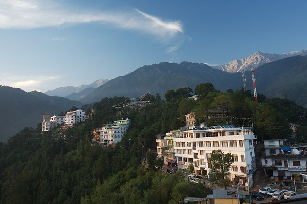 View of Mcleod Ganj and distant mountains from the Nomgyal Gompa.