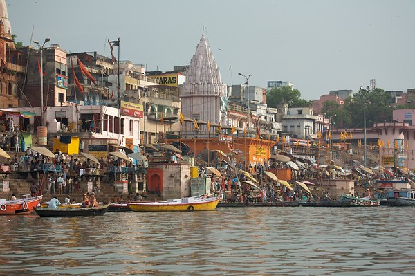 Dasaswamedh Ghat is one of the busiest ghats in Varanasi.