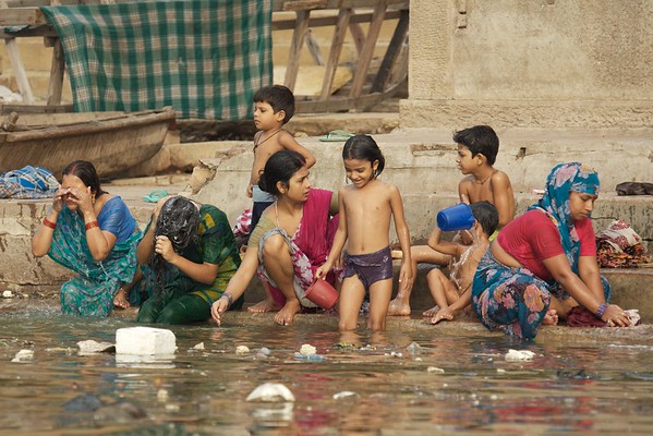"""""""The Ganges River is so heavily polluted at Varanasi that the water is septic - no dissolved oxygen exists. The statistics get worse. Samples from the river show the water has 1.5 million faecal coliform bacteria per 100mL of water. In water that is safe for bathing this figure should be less than 500! """" -Lonely Planet <br /> <br /> I also witnessed people brushing their teeth and gargling the water in their throats."""