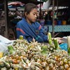 This young girl was selling pineapples for her mother at the market.