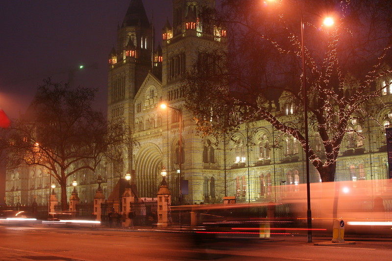 The Natural History Museum on a cold dark Christmas evening.